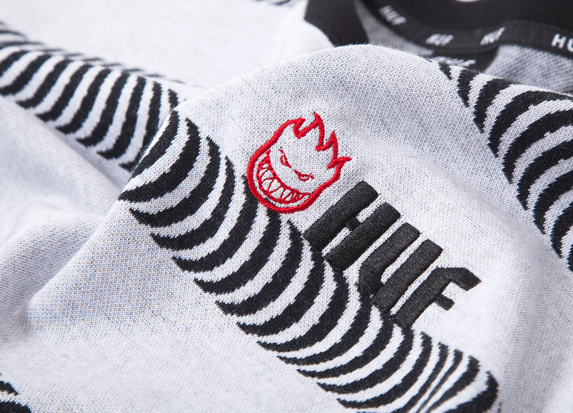 HUF x Spitfire Striped Knit T Shirt - White