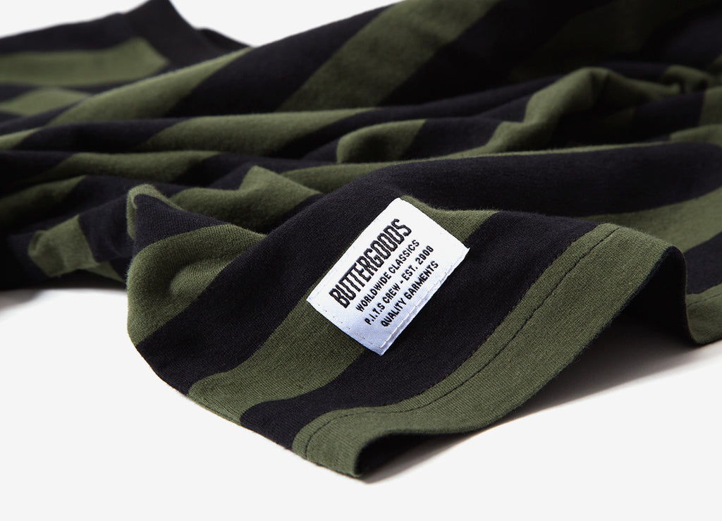 Butter Goods Cycle Stripe T Shirt - Olive/Black