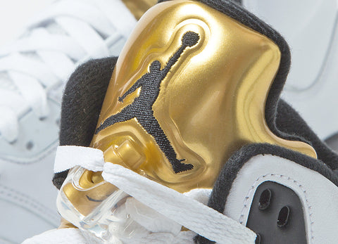 Air Jordan V Retro 'White/Metallic Gold' Shoes - White/Black-Metallic Gold