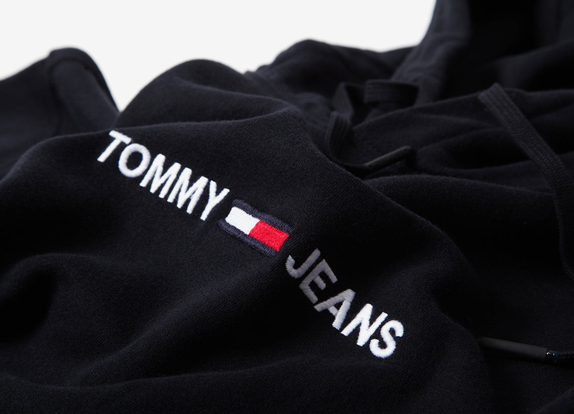 Tommy Jeans Small Logo Embroidered Pullover Hoody - Tommy Black