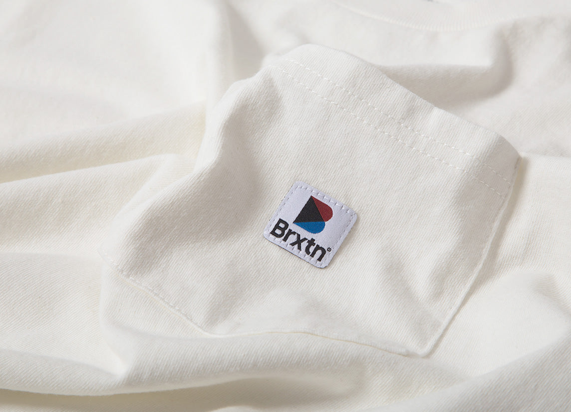 Brixton Stowell Long Sleeve Pocket T Shirt - Off White