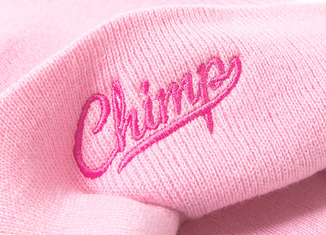 Chimp Embroidered Micro Script Beanie - Candy Pink