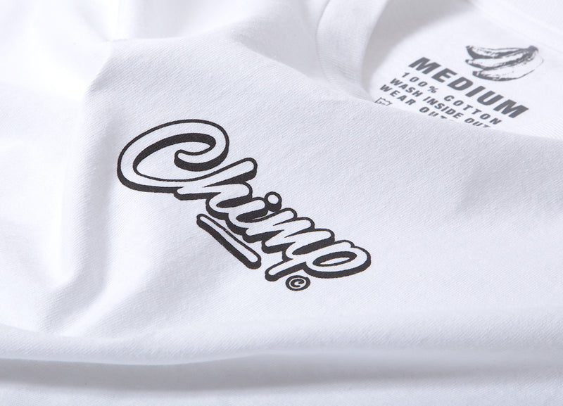 Chimp Brush Script T Shirt - White