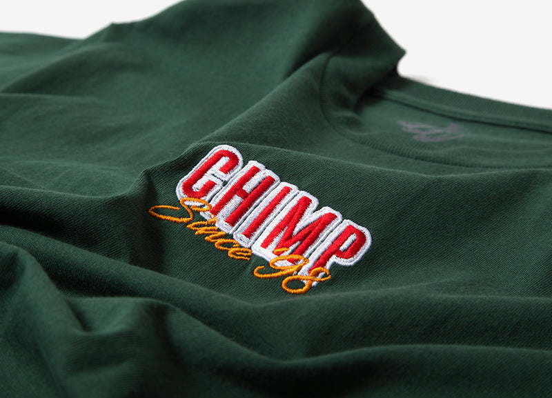 Chimp Stacked Embroidered T Shirt - Green