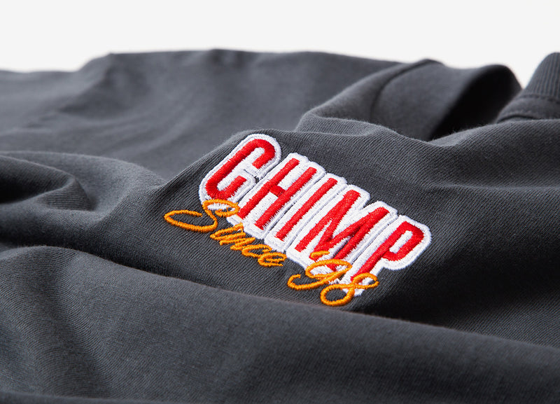 Chimp Stacked Embroidered T Shirt - Charcoal