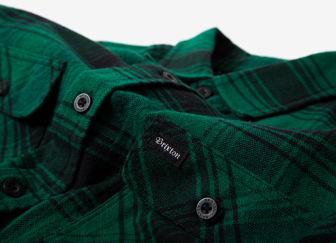 Brixton Bowery Flannel Shirt - Green/Black