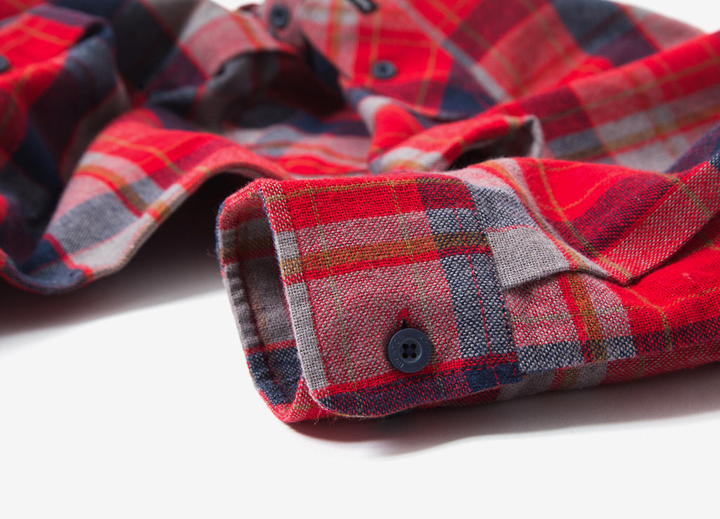 Brixton Bowery Flannel Shirt - Red/Heather Grey/Navy