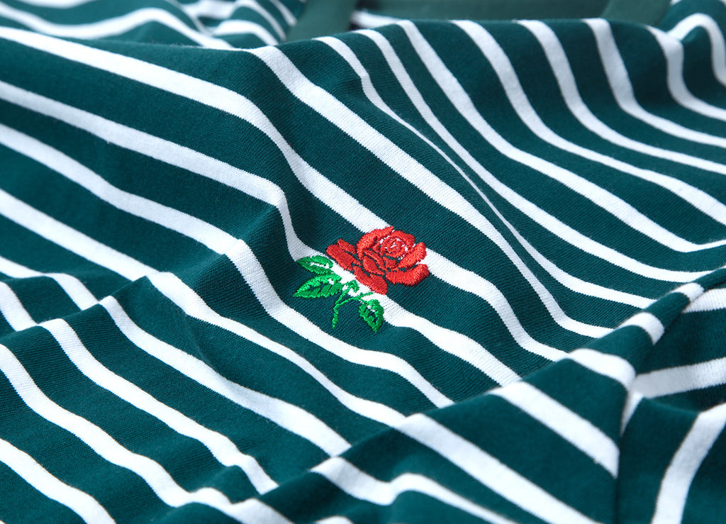 Butter Goods Rose Stripe T Shirt - Forest
