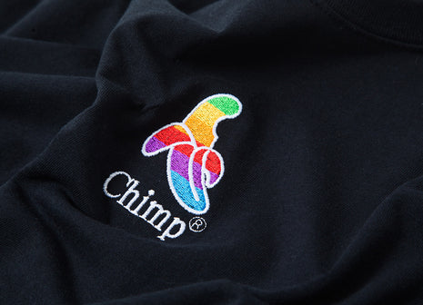 Chimp Throwback Embroidered T Shirt - Black