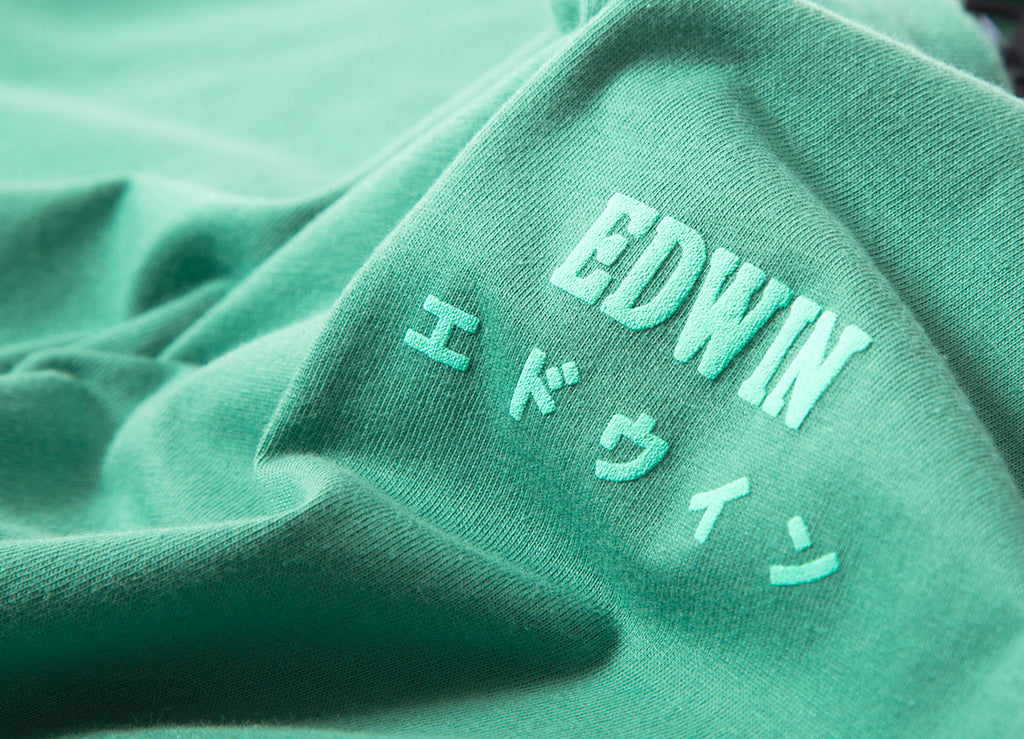 Edwin Logo Chest T Shirt - Frosty Spruce Garment Washed