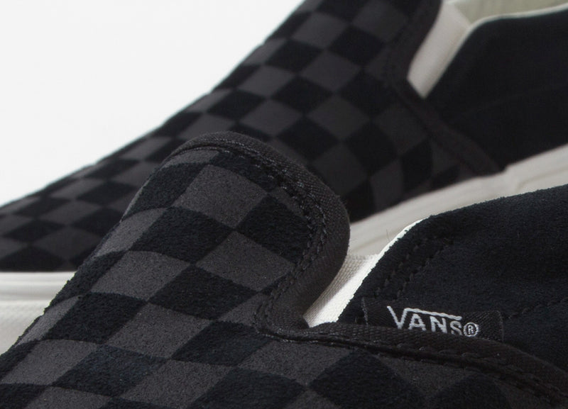 Vans Checker Emboss Classic Slip-On Shoes - Black/Marshmallow