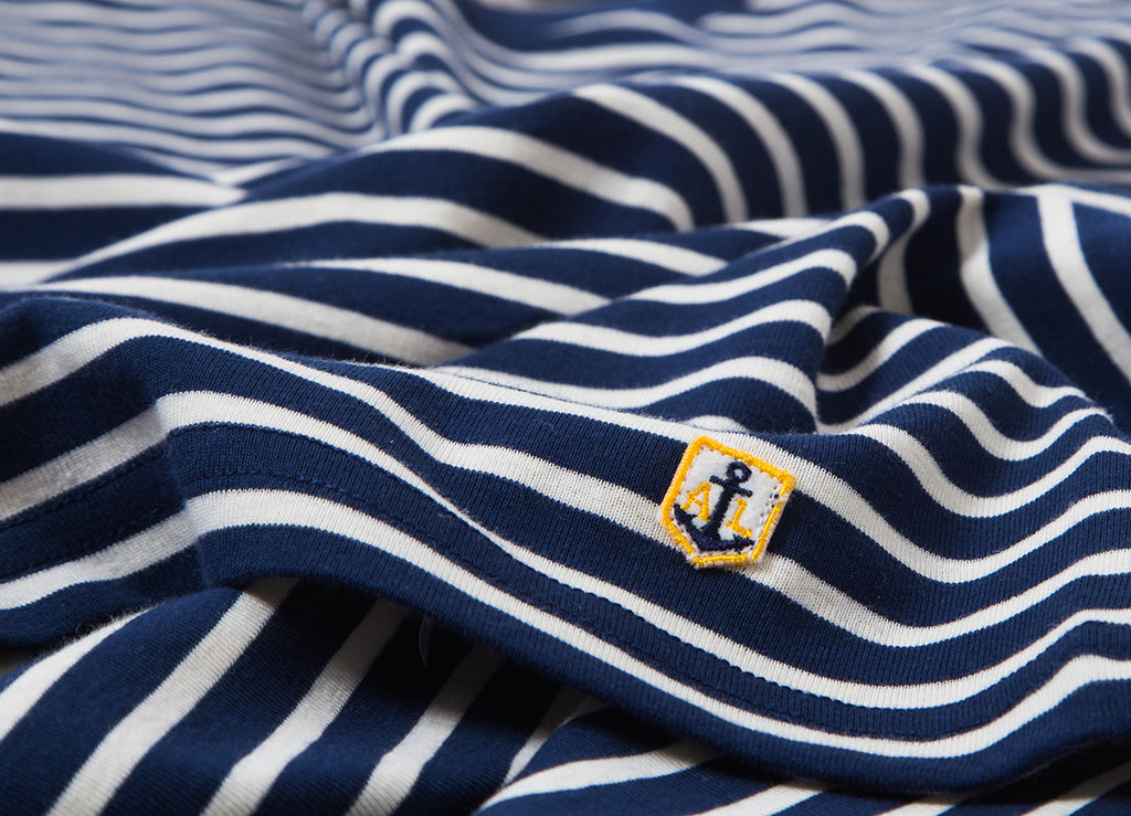 Armour Lux Heritage Breton Stripe T Shirt - Dark Blue Aviso/Natural