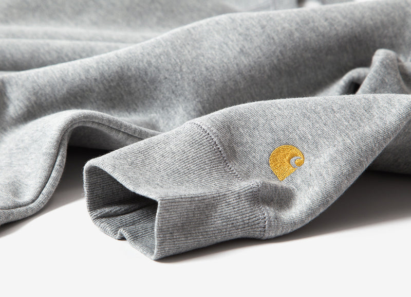 Carhartt Chase Crewneck Sweatshirt - Grey Heather/Gold