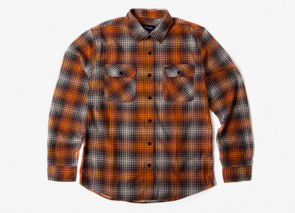 Brixton Bowery Lightweight Flannel Shirt - Burnt Orange