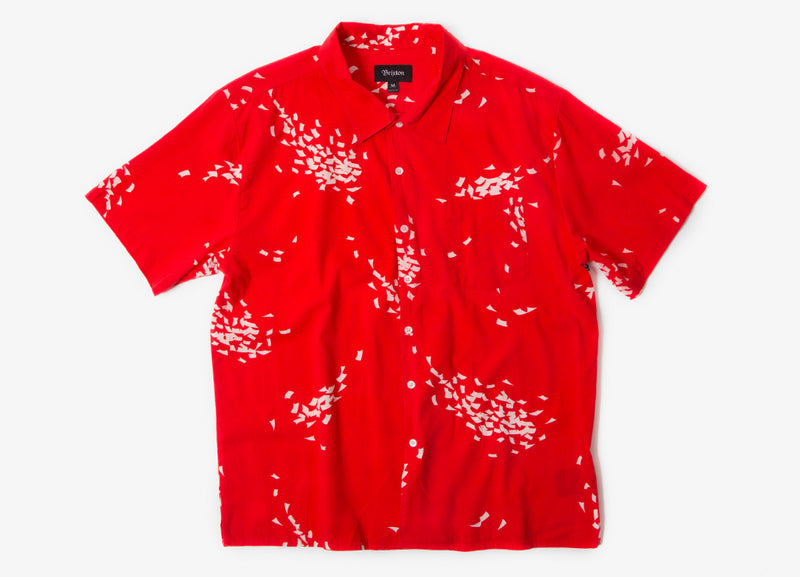 Brixton Lovitz Short Sleeve Shirt - Red/White