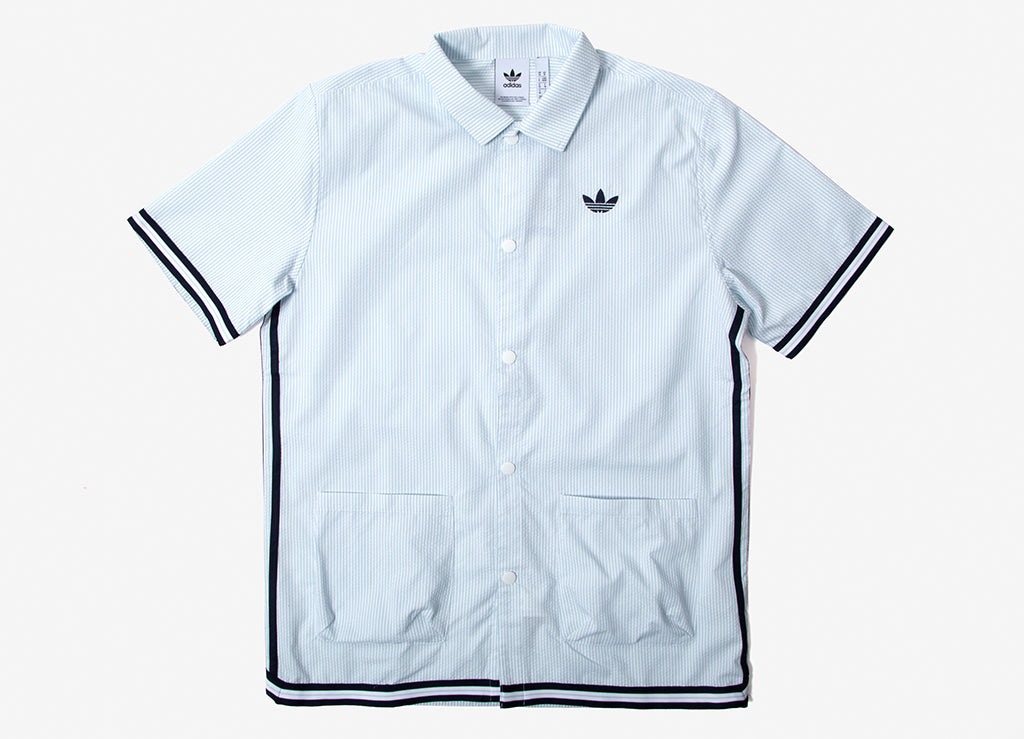 adidas Originals Seersucker Snap Shirt - Ash Grey/White