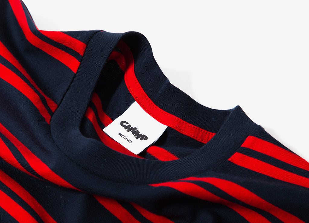 Chimp Heavyweight Premium Classic Stripe T Shirt - Navy/Red