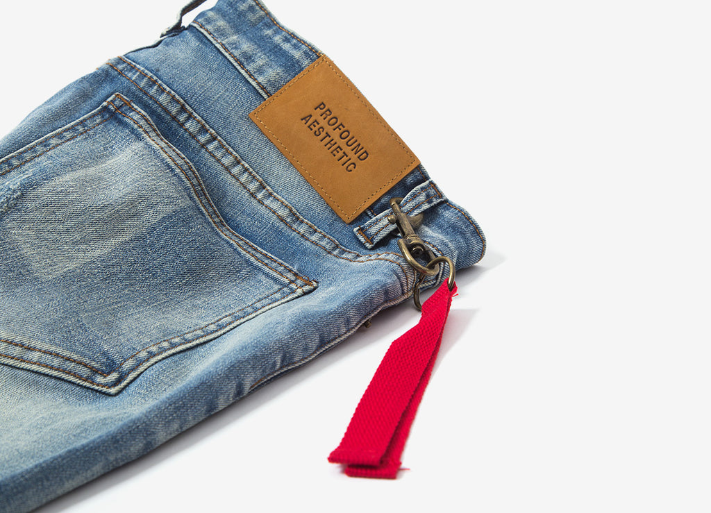 Profound Aesthetic Earth Washed Destroyed Denim Jeans - Allover