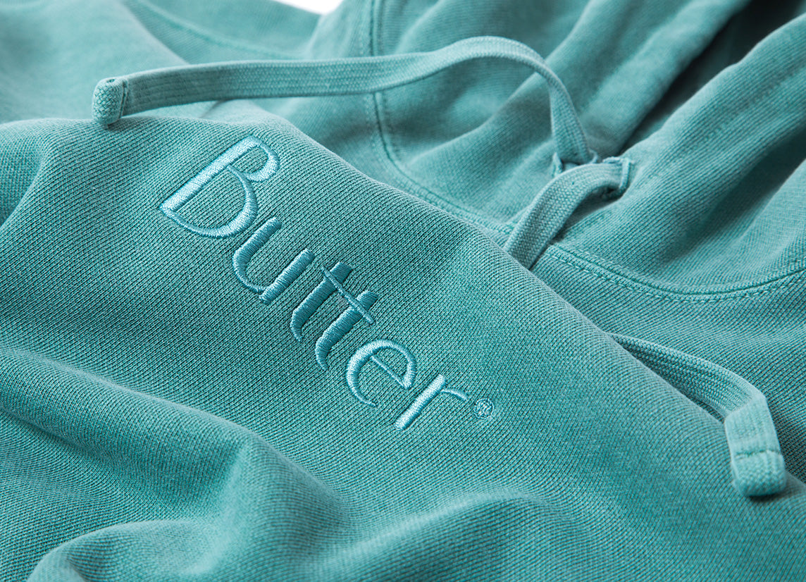 Butter Goods Tonal Embroidered Classic Logo Hoody - Willow