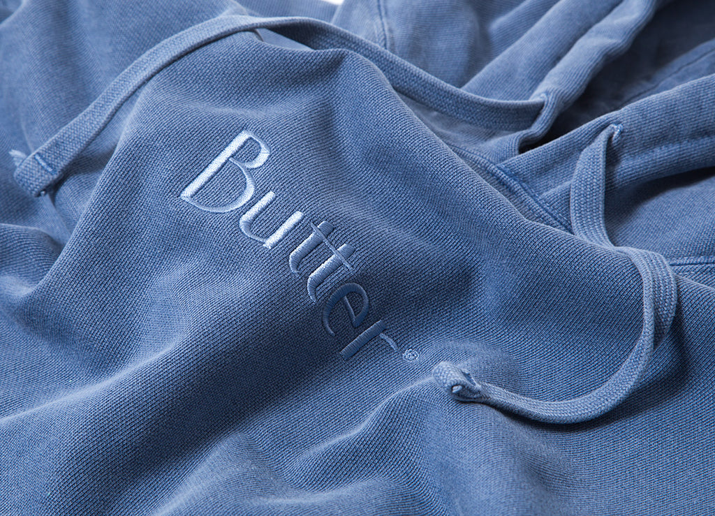 Butter Goods Tonal Embroidered Classic Logo Hoody - Denim