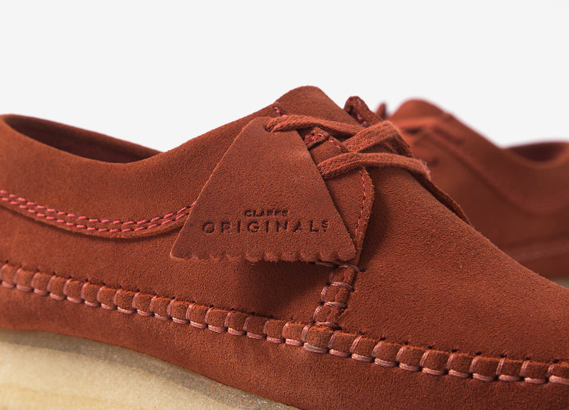 Clarks Originals Weaver Shoes - Brick Red Suede