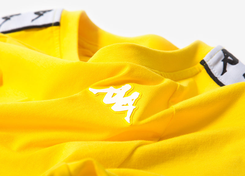 Kappa 222 Banda Coen T Shirt - Yellow/White/Black