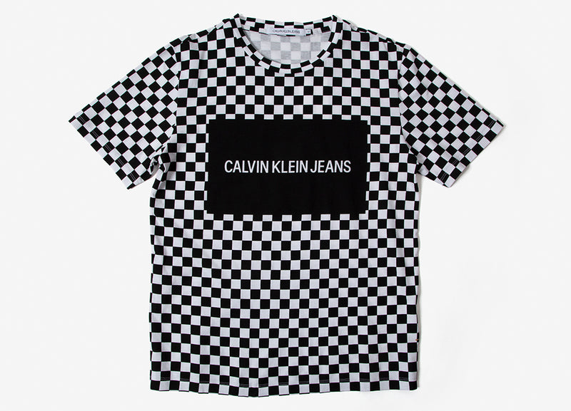 Calvin Klein Institutional Checkerboard Box Logo T Shirt - Black/Check