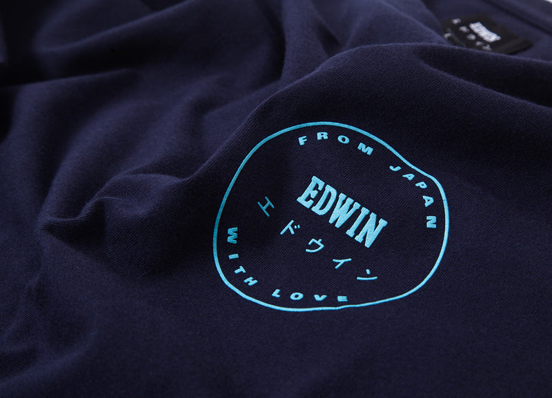 Edwin Trademark T Shirt - Navy Garment Washed