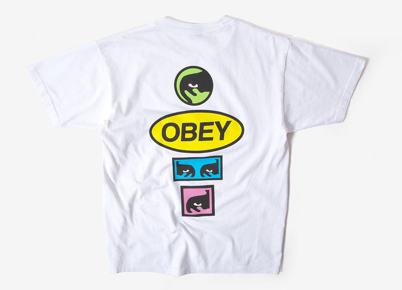 Obey Stacked T Shirt - White