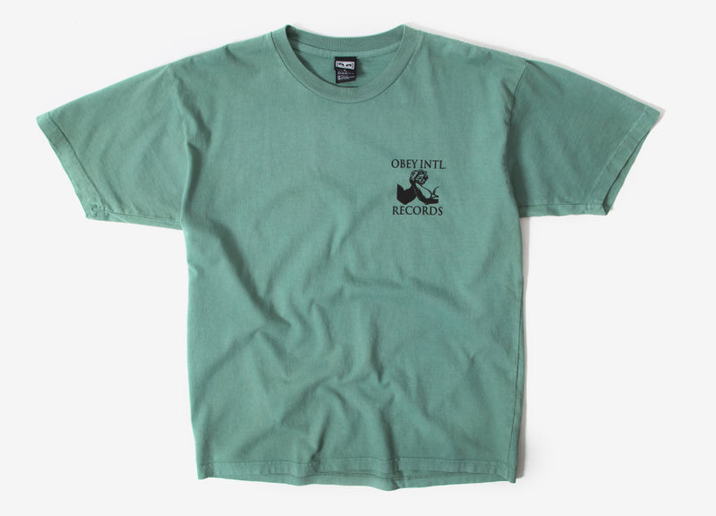 Obey Intl. Records T Shirt - Atlantic Green