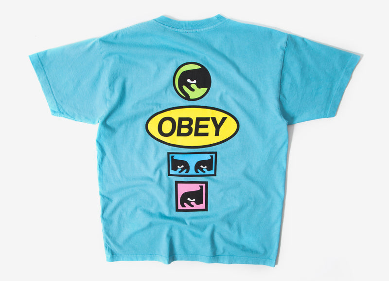 Obey Stacked T Shirt - Pool