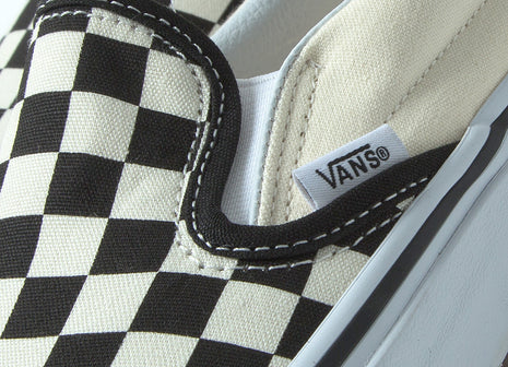 Vans Checkerboard Classic Slip-On Shoes - Black/White