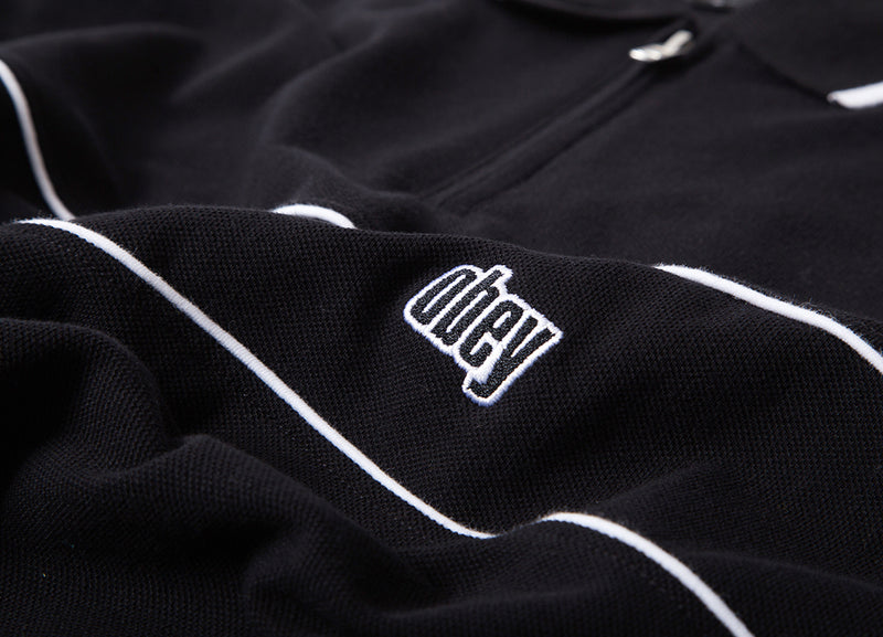 Obey Johnny Zip Polo Shirt - Black