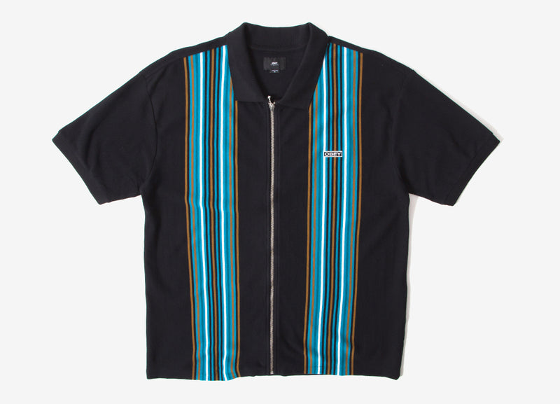 Obey Kelly Classic Zip Polo Shirt - Black Multi