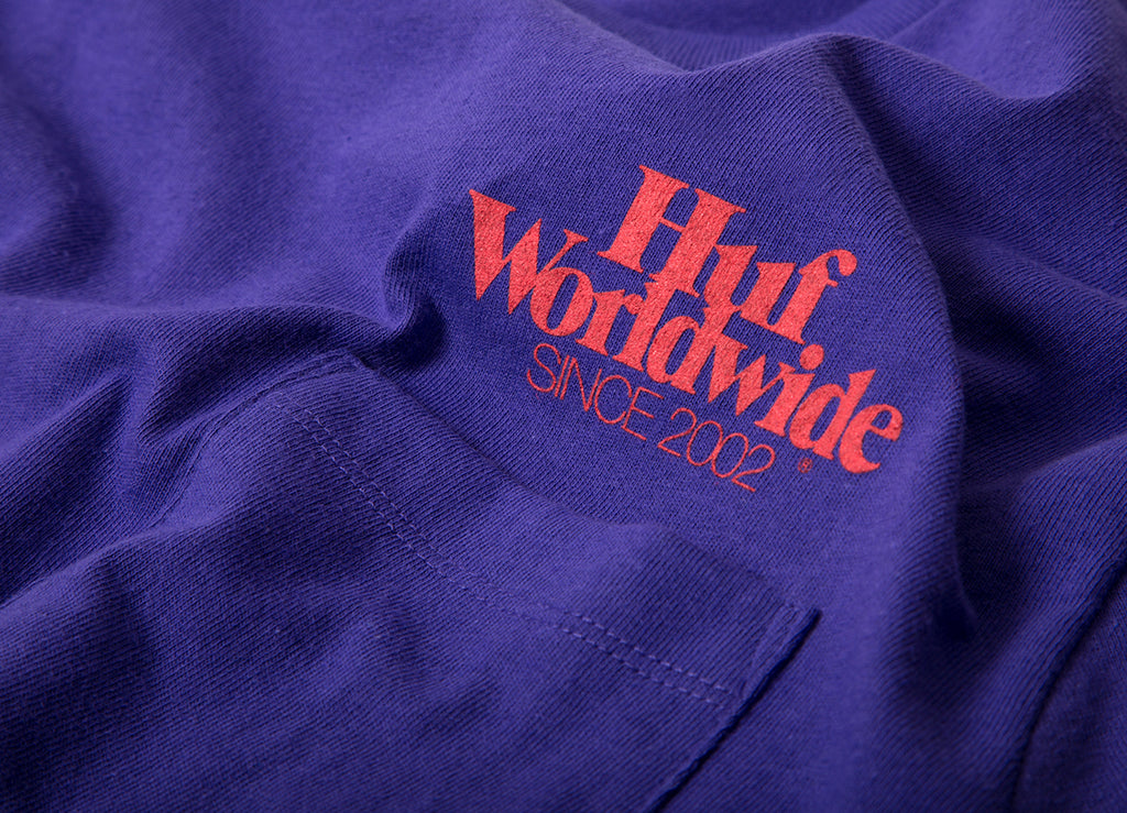 HUF Issue Logo Pocket T Shirt - Ultra Violet