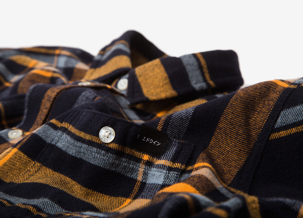 Edwin Labour Twill Flannel Shirt - Orange Ochre