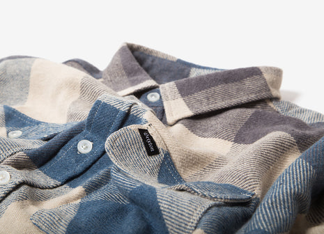 Brixton Bowery Flannel Shirt - Off White/Dusty Blue