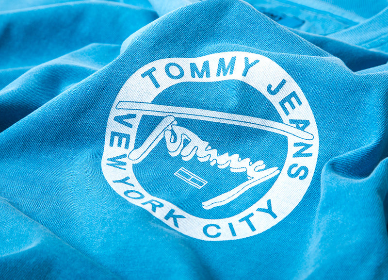 Tommy Jeans Washed Graphic T Shirt - Saxony Blue