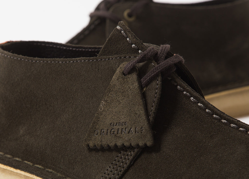 Clarks Originals Desert Trek Shoes - Dark Green Suede