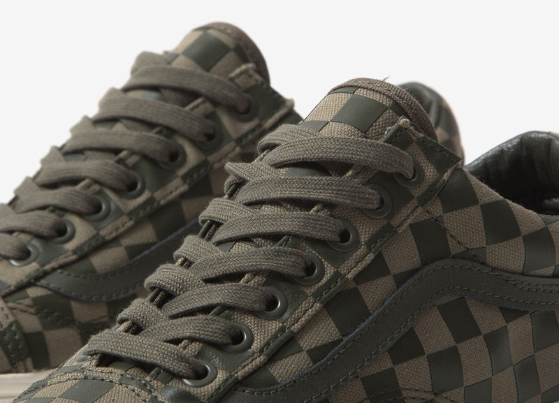 Vans Old Skool 'High Density Checkerboard' Shoes - Olive/Check