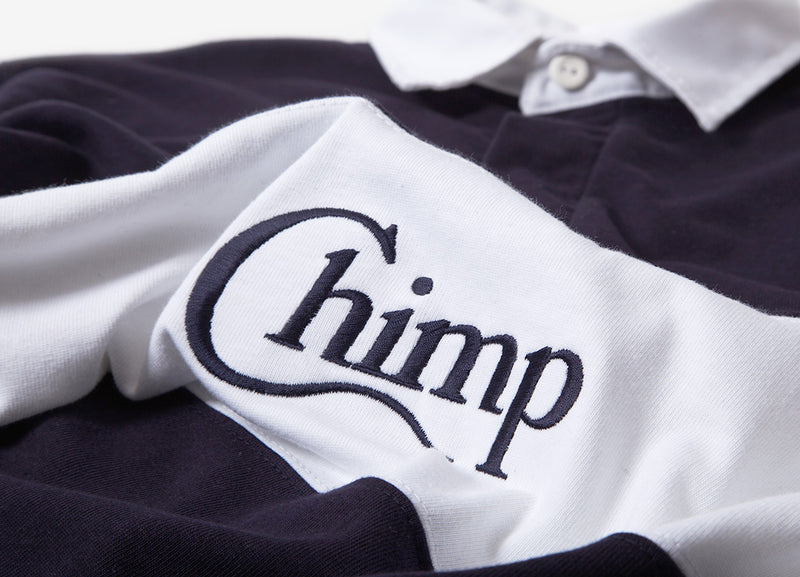 Chimp Motif Rugby Shirt - Navy/White