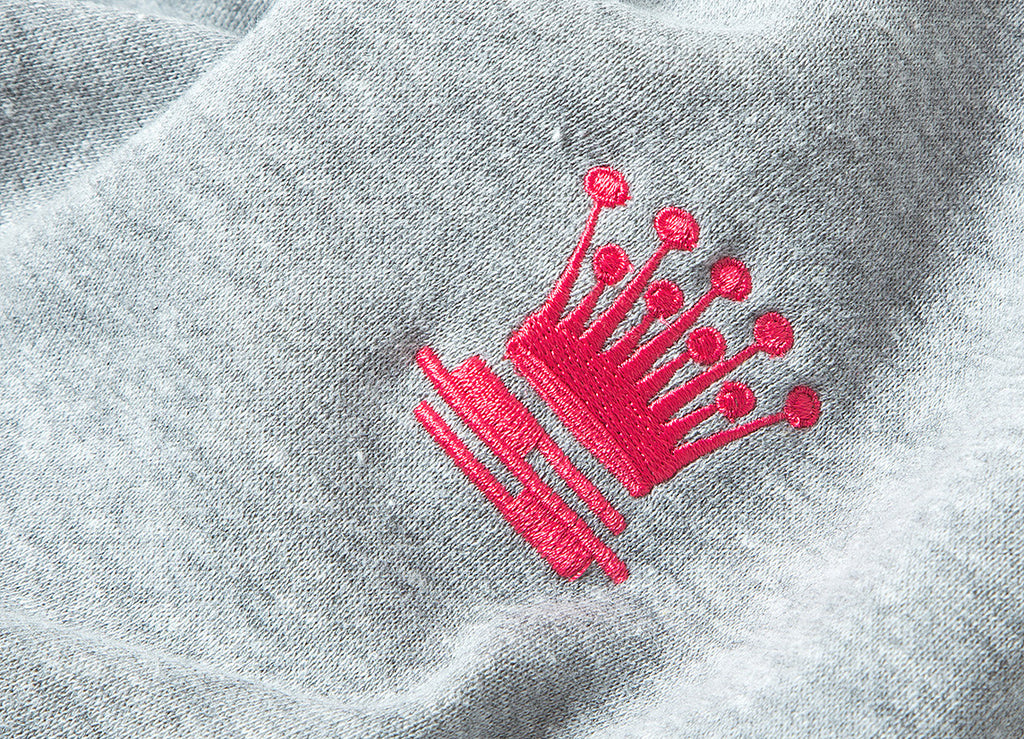 Stussy S Crown Embroidered Pullover Hoody - Heather Grey