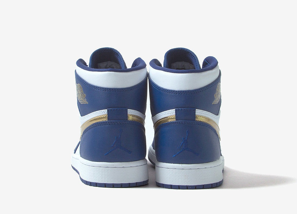 Air Jordan 1 Retro High Shoes - Deep Royal Blue/Metallic Gold