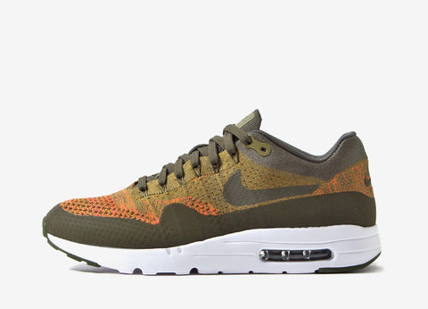 Nike Air Max 1 Ultra Flyknit Shoes - Olive Flak/Cargo Khaki