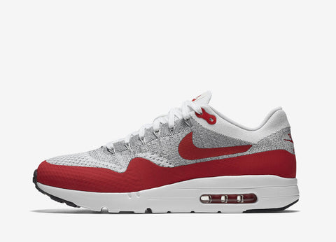 Nike Air Max 1 Ultra Flyknit Shoes - White/University Red