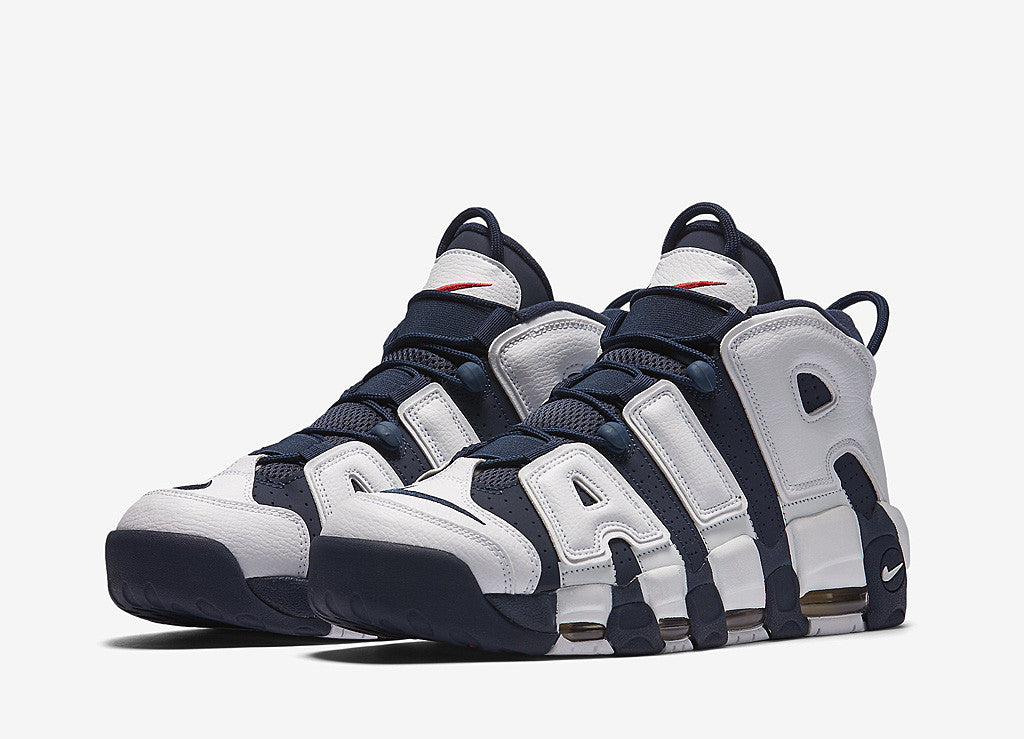 Nike Air More Uptempo Shoes - White/Midnight Navy-Metallic Gold