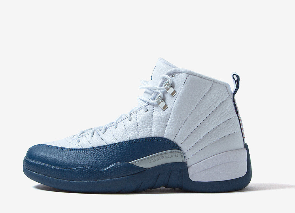 "Air Jordan XII Retro ""French Blue"" Shoes - White/French Blue-Metallic Silver"