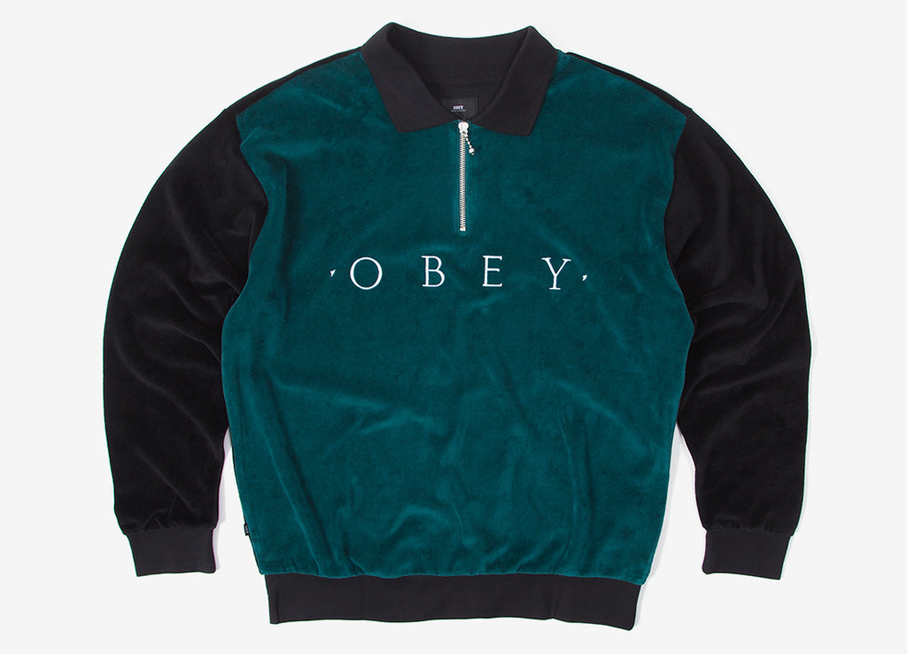 Obey Avenue Zip Long Sleeve Polo Shirt - Black/Multi
