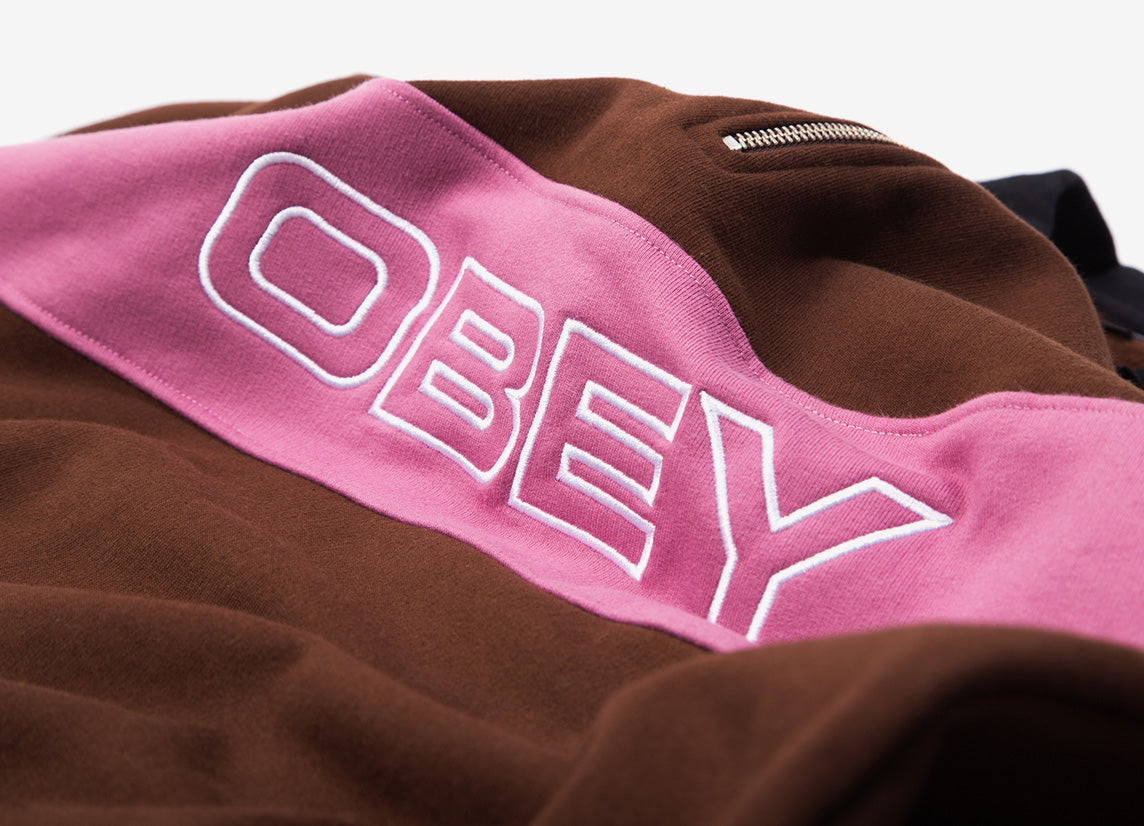 Obey Baron Zip Crew Polo - Brown/Multi