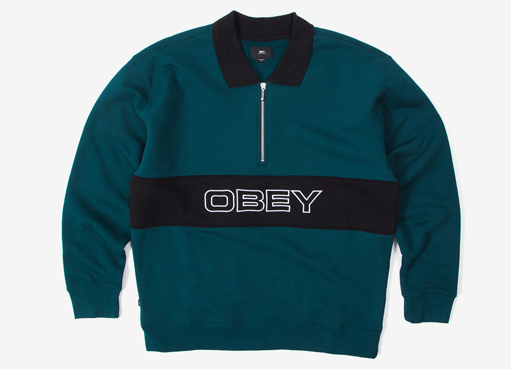 Obey Baron Zip Crew Polo - Deep Teal/Multi
